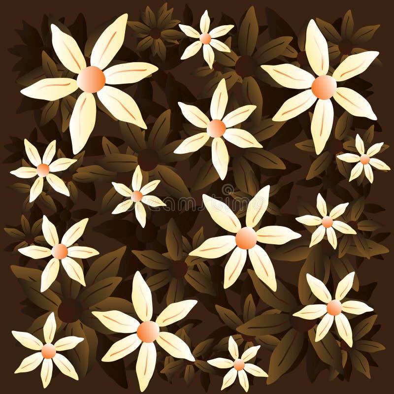 Wektorowy chamomile brązu wzór obrazy stock