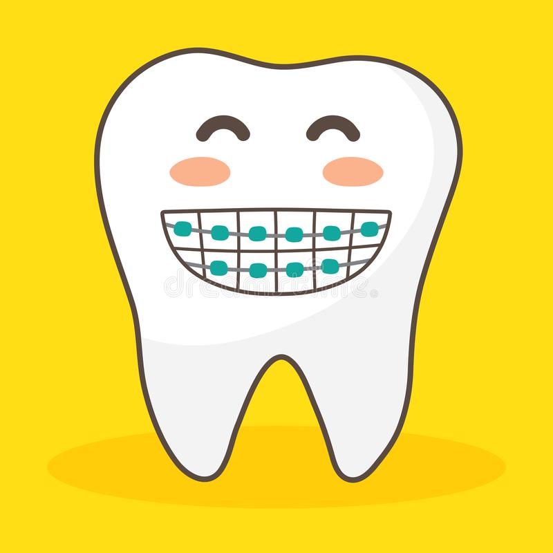 Wektorowy charakter szczęśliwy i śmieszni zęby ustawiający ilustracyjny doodle rysuje ślicznego projekta ząb ilustracja wektor