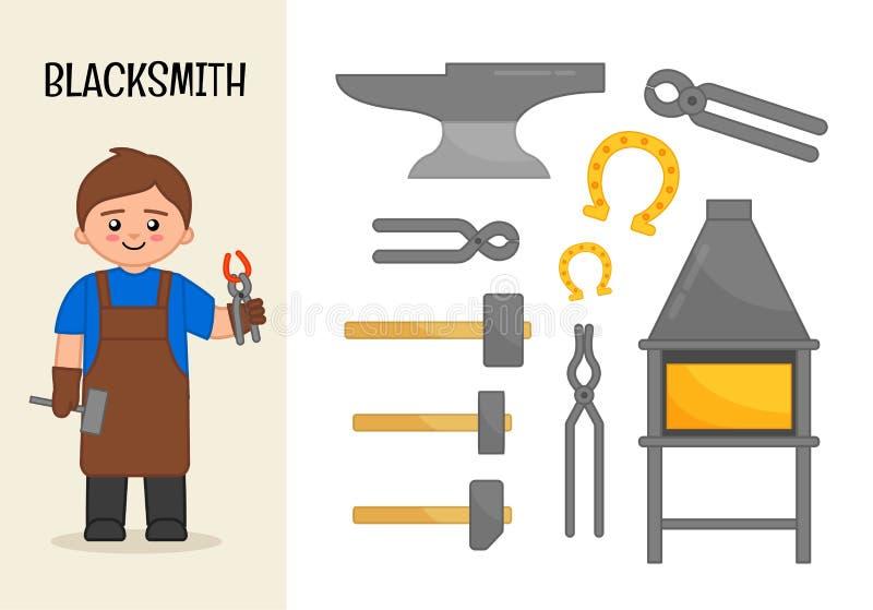 Wektorowy charakteru blacksmith ilustracji