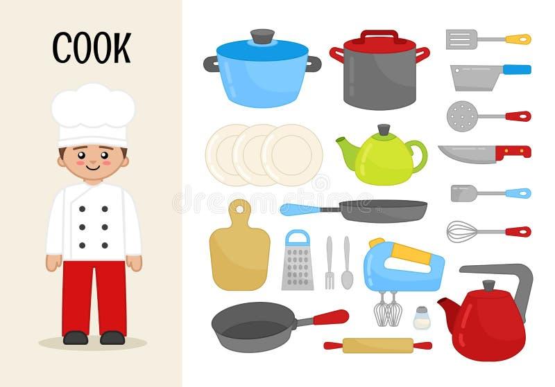 Wektorowy charakteru kucharz royalty ilustracja