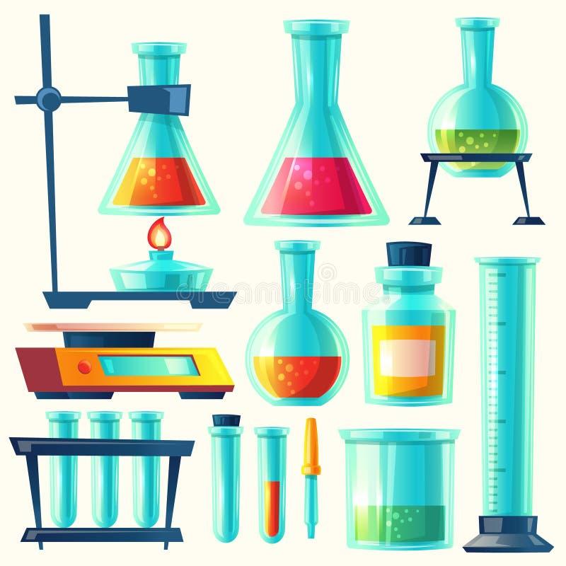 Wektorowy chemiczny wyposażenie dla eksperymentu Chemii laboratorium Kolba, buteleczka, epruwetka, waży, ripostuje z substancją, ilustracja wektor
