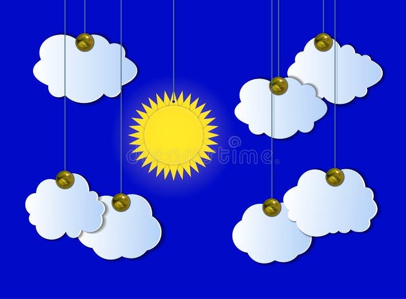 Wektorowy Chmurny niebo, Pogodna pogoda, Przypięte wycinanek chmury i słońce Wiesza szczegóły, ilustracji