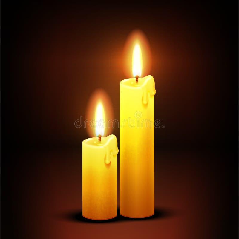 Wektorowy chrześcijański tło z płonącymi obiadowymi świeczkami royalty ilustracja