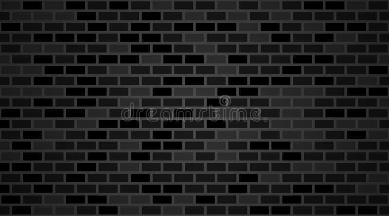 Wektorowy ciemny ściany z cegieł tło Starej czarnej tekstury miastowy kamieniarstwo Rocznik architektury bloku tapeta Retro fa royalty ilustracja