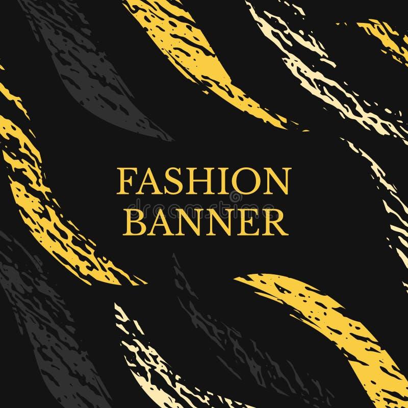 Wektorowy ciemny grunge sztandar Abstraktów lampasy z teksturą Miastowy sztuka styl Modny tło w jaskrawym żółtym kolorze na czern ilustracja wektor