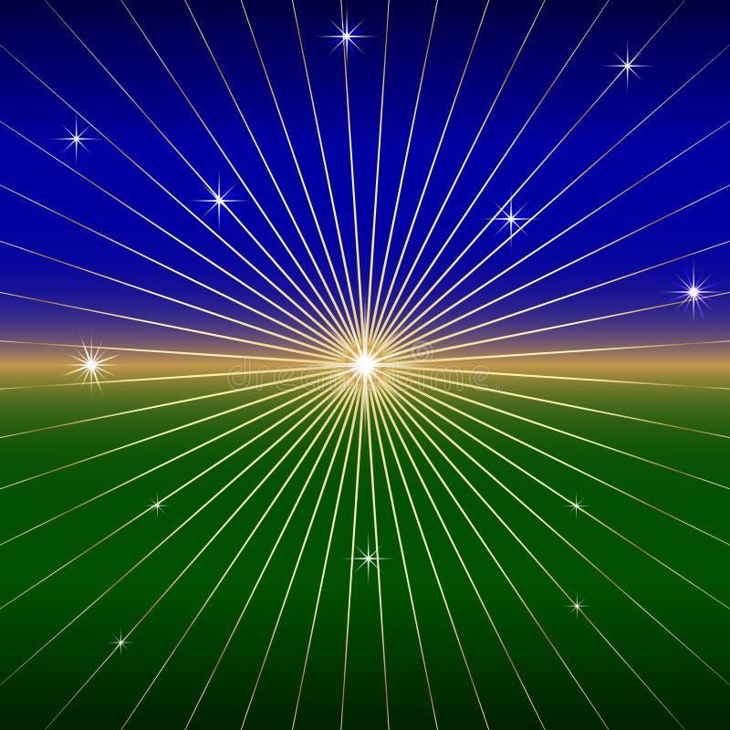Wektorowy Ciemny tło z gwiazdą i promieniami ilustracja wektor