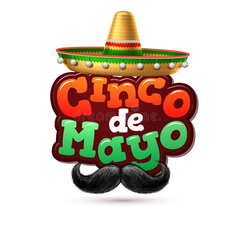 Wektorowy cinco de Mayo meksykanina przyjęcia plakata sztandar royalty ilustracja