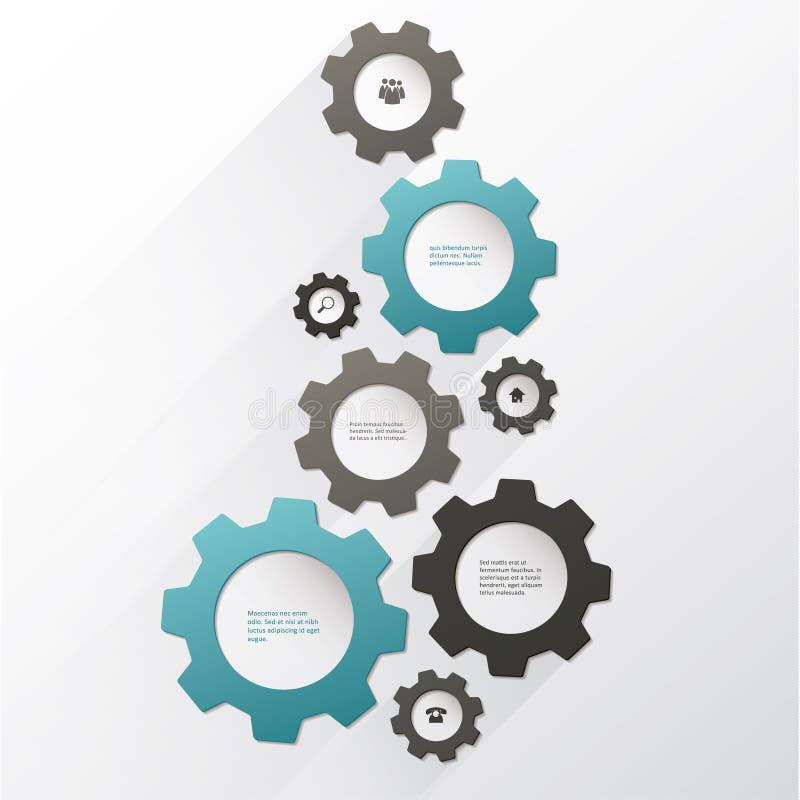 Wektorowy cogwheel szablon Cogwheel związek, praca zespołowa ilustracji