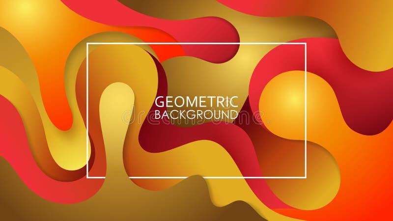 Wektorowy colorfull tło Faliste geometryczne linie Embossed warstwy cięcie papier Jesień kolory royalty ilustracja