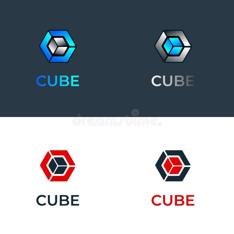 Wektorowy colourful błękitny gradient i metali sześcianów logo szklany szablon royalty ilustracja