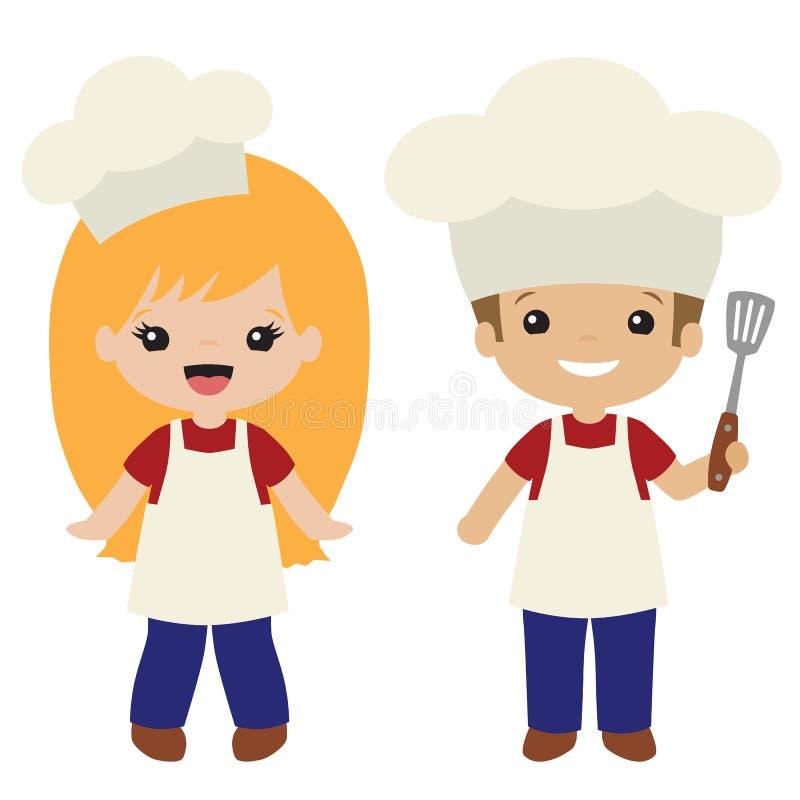 Wektorowy Cookout grill Gotuje chłopiec i dziewczyny ilustracje ilustracja wektor