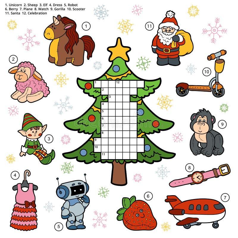 Wektorowy crossword, edukaci gra dla dzieci o bożego narodzenia pr royalty ilustracja
