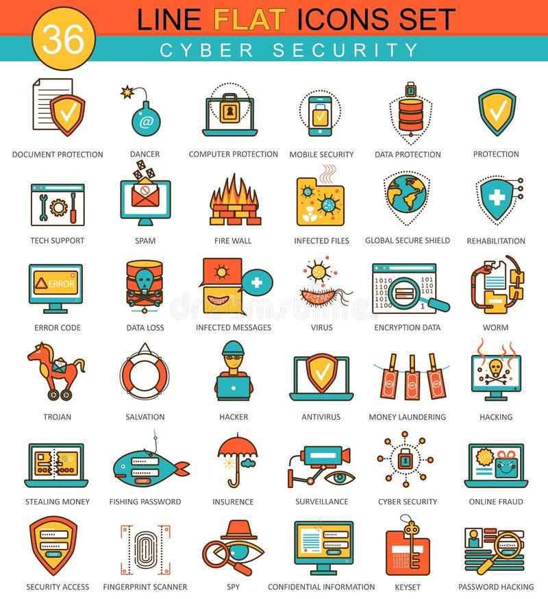 Wektorowy Cyber ochrony mieszkania linii ikony set Nowożytny eleganckiego stylu projekt dla sieci ilustracji