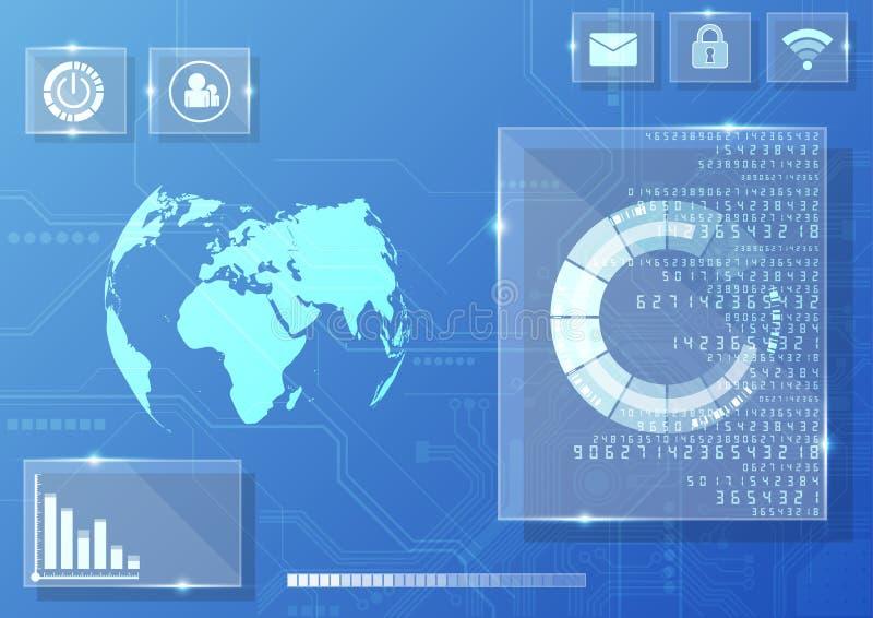 Wektorowy cyfrowy globalny technologia interfejs, abstrakcjonistyczny tło ilustracji