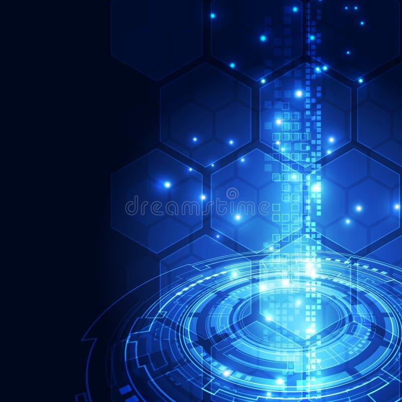 Wektorowy cyfrowy globalny technologia interfejs, abstrakcjonistyczny tło royalty ilustracja