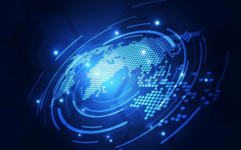 Wektorowy cyfrowy globalny technologii pojęcie, abstrakcjonistyczna tło ilustracja ilustracji