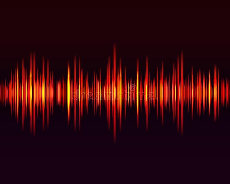 Wektorowy cyfrowy muzyczny wyrównywacz, audio fale projektuje szablonu audio sygnału unaocznienie na ciemnym tle royalty ilustracja