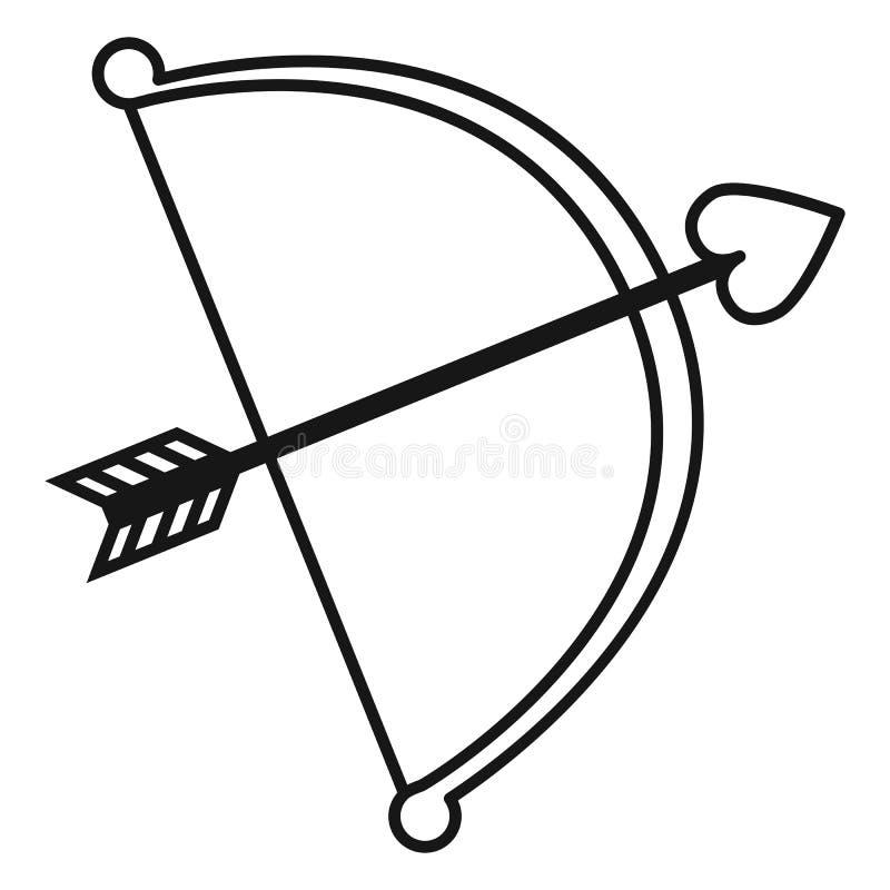Wektorowy Czarny amorka łęk z miłości strzała ikoną royalty ilustracja