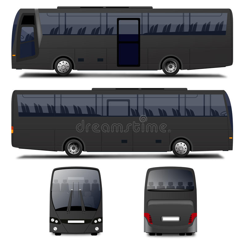 Wektorowy Czarny autobus ilustracja wektor
