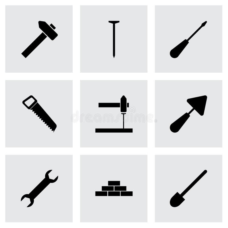 Wektorowy czarny budowy ikony set ilustracji