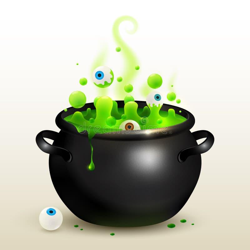 Wektorowy czarny czarownica kocioł z zielonym napojem miłosnym royalty ilustracja