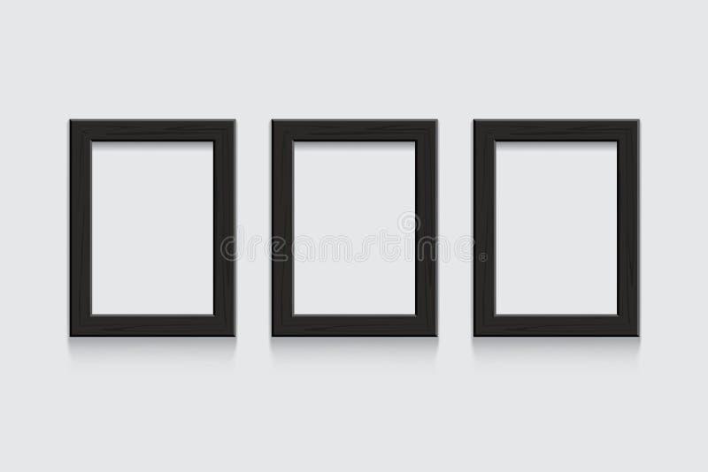 Wektorowy czarny drewniany obrazek lub fotografia obramiamy odosobnionego na popielatym tle ilustracji