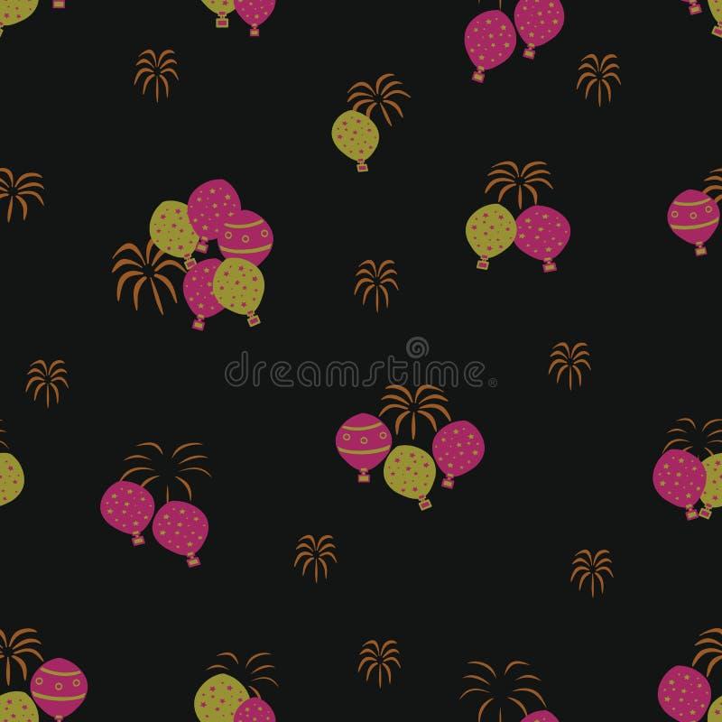 Wektorowy czarny fajerwerków i gorące powietrze balonu festiwalu bezszwowy deseniowy tło royalty ilustracja