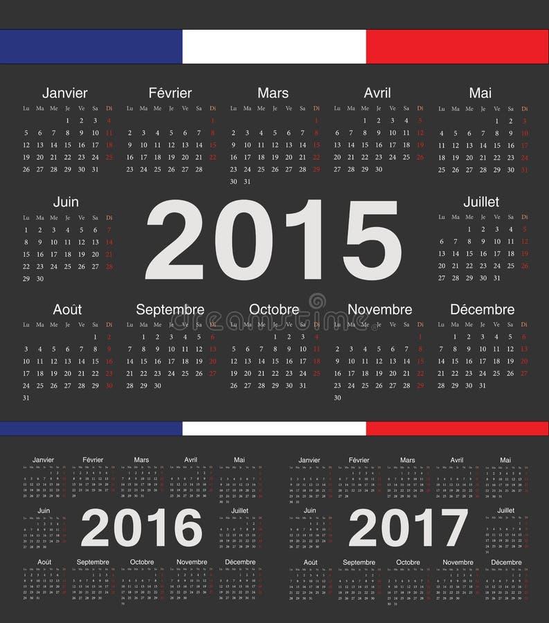 Wektorowy czarny francuski rcircle porządkuje 2015, 2016, 2017 royalty ilustracja