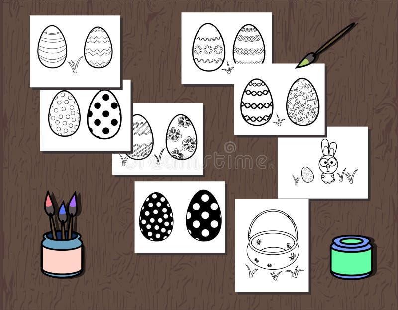 Wektorowy Czarny I Biały Wielkanocnego jajka plakat oddzielał na warstwach Kolorystyki książki strona dla dzieciaków Ilustracja z ilustracji
