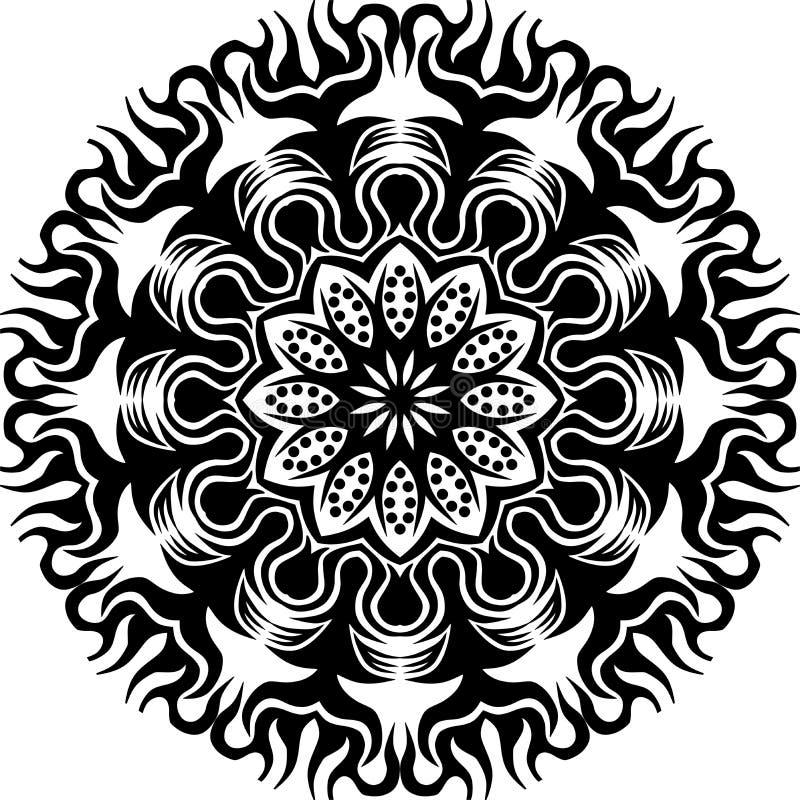 Wektorowy Czarny i biały abstrakcjonistyczny kółkowy słońce płomień, kwiat mandalapattern i ilustracji
