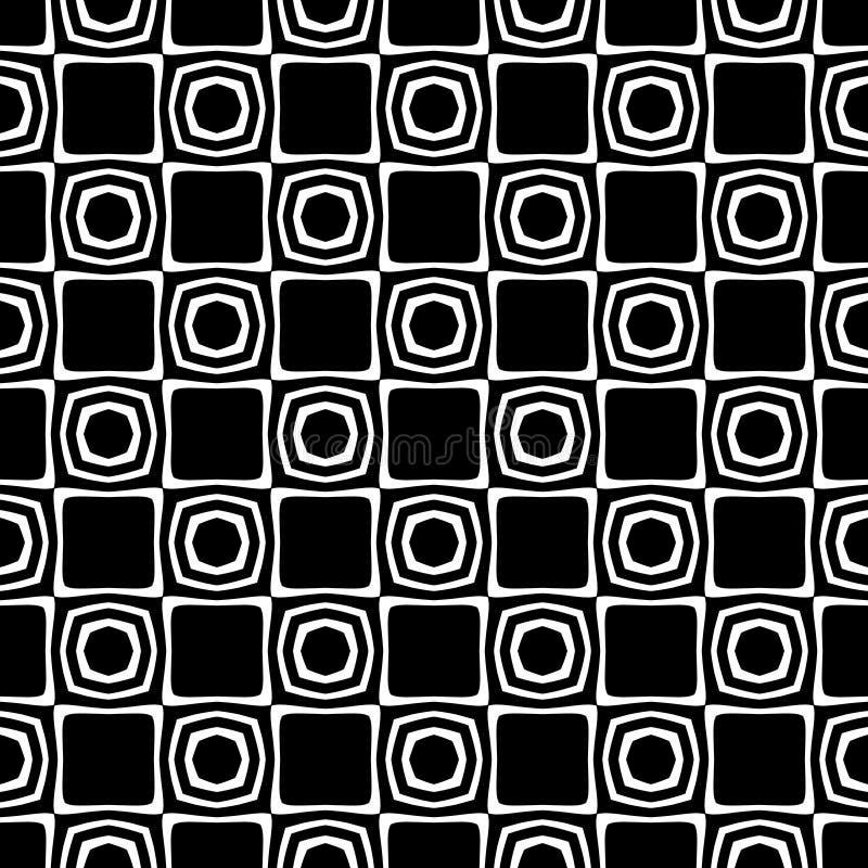 Wektorowy Czarny i biały abstrakcjonistyczny ośmioboka i rhombus bezszwowy wzór royalty ilustracja