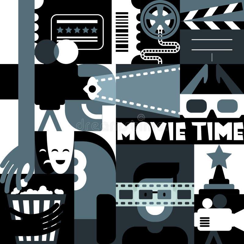 Wektorowy czarny i biały filmu pojęcie Retro kinowego festiwalu geometryczny wzór Tła dla plakata, bilet ilustracja wektor