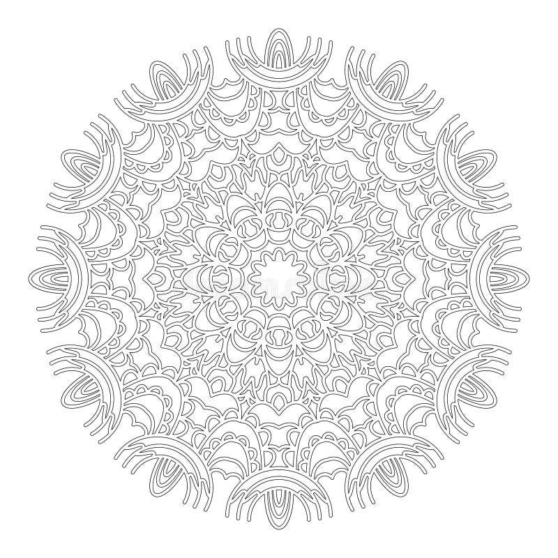 Wektorowy czarny i biały geometryczny abstrakcjonistyczny kwiecisty koronkowy mandala - dorosła kolorystyki książki strona ilustracja wektor