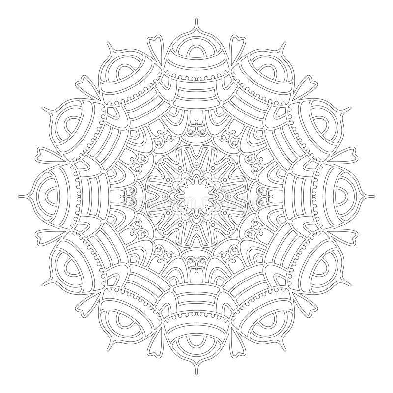 Wektorowy czarny i biały geometryczny koronkowy abstrakcjonistyczny kwiecisty mandala - dorosła kolorystyki książki strona ilustracja wektor