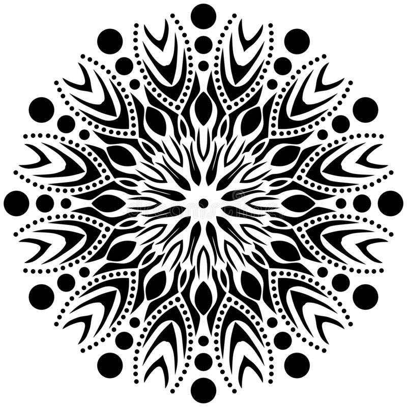 Wektorowy Czarny i biały mandala ornament, płomień, ostre krawędzie, okręgi z wewnątrz royalty ilustracja