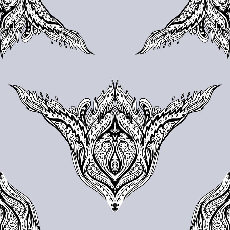 Wektorowy czarny i biały ornamentacyjny Lotosowy Artystyczny kwiecisty Paisley ilustracja wektor