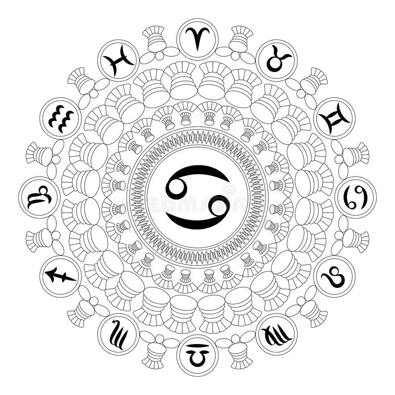 Wektorowy czarny i biały round mandala z zodiaka symbolem nowotwór - dorosła kolorystyki książki strona ilustracji