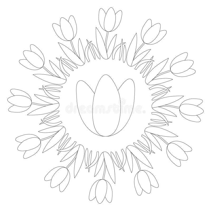 Wektorowy czarny i biały round wiosny mandala z kwiatu tulipanem - dorosła kolorystyki książki strona ilustracja wektor