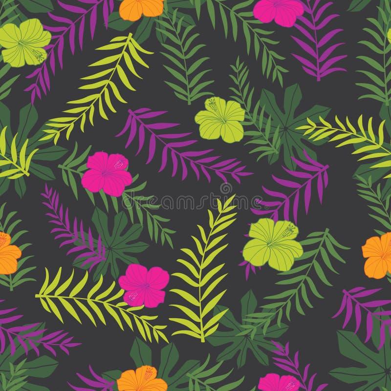 Wektorowy czarny i colourful tropikalnych rośliien bezszwowy deseniowy tło Doskonalić dla tkaniny, scrapbooking, tapeta projekty ilustracji