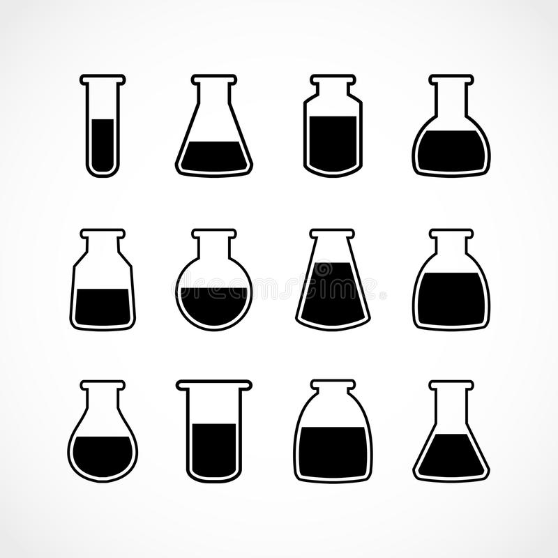 Wektorowy czarny laborancki kolba set ilustracja wektor