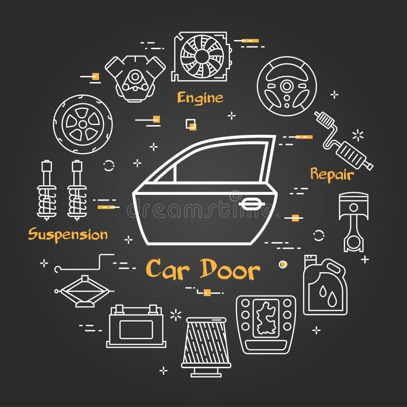 Wektorowy czarny liniowy sztandar samochodowy drzwi ilustracja wektor