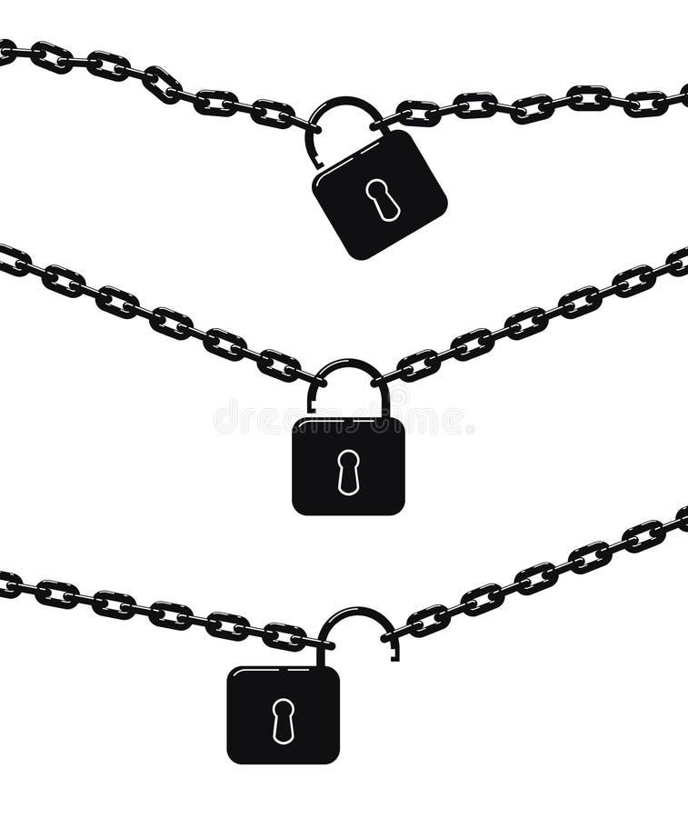 Wektorowy czarny metalu łańcuch, kłódka i ilustracji