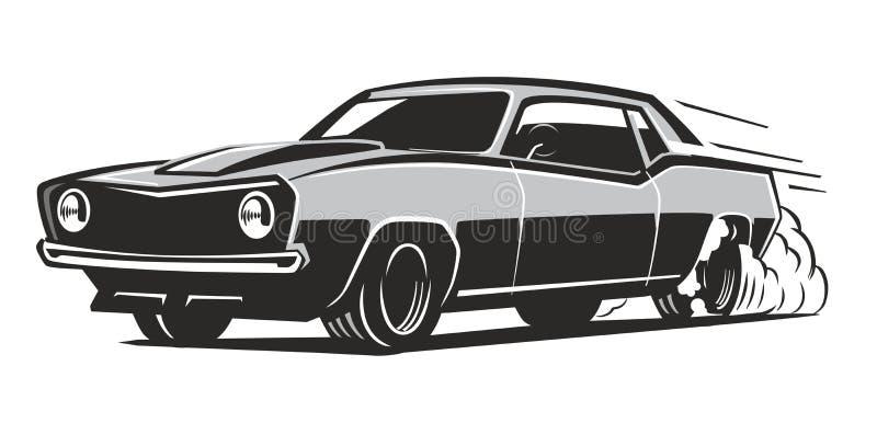 Wektorowy czarny mięśnia samochód ilustracja wektor
