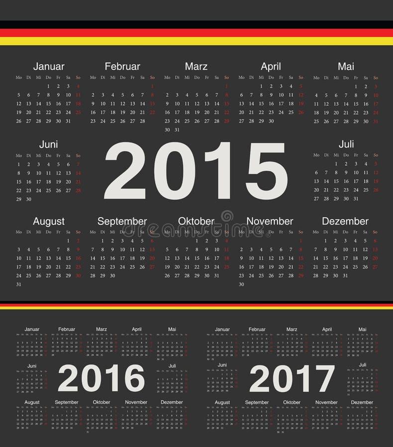 Wektorowy czarny niemiecki okrąg porządkuje 2015, 2016, 2017 ilustracji