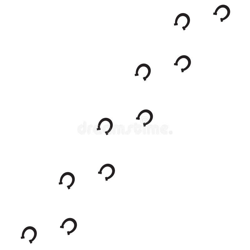 Wektorowy czarny płaski konia but kroczy odciski stopych drogowych na białym tle ilustracja wektor