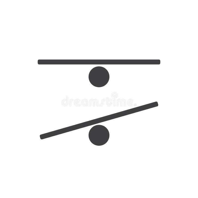 Wektorowy czarny płaski sylwetki ikony logo równowagi deska ilustracji