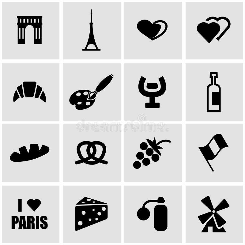 Wektorowy czarny Paris ikony set royalty ilustracja
