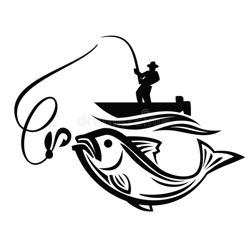 Wektorowy czarny rybak ilustracji