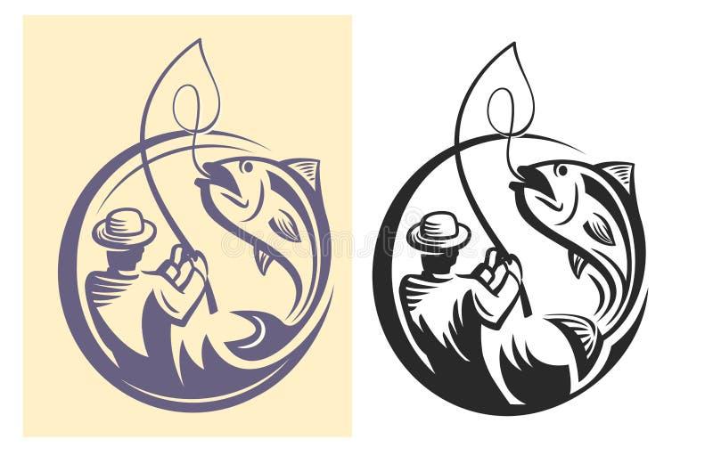 Wektorowy czarny rybak royalty ilustracja
