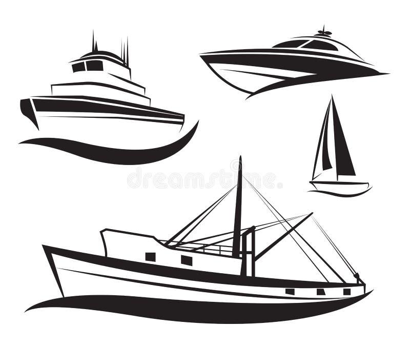 Wektorowy czarny statku i łodzi set. royalty ilustracja